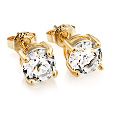 Gold Round 6mm Earrings with Crystals from Swarovski®