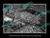 OLD LARGE HISTORIC PHOTO OF HAWLEY PENNSYLVANIA, AERIAL VIEW OF TOWN & RAIL 1940