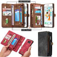 Retro Wallet Luxury Leather Flip Case Cover For Apple Samsung S7 Edge S8 S9 Plus
