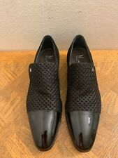 Moreshi Black Printed Suede Patent Loafers Men's Size 9.5 Eu 10.5 US