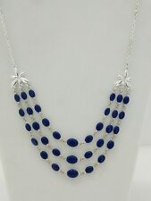 Blue and Silver Tone 3 - Layer Necklace w/ side Flower - AVON