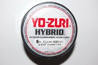 yo zuri fluorocarbon nylon hybrid 6lb lo-vis clear 600yds spool fishing line