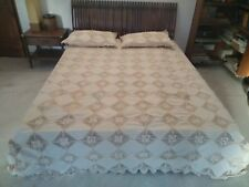 "Linen Lace Bed spread in Size 90""x 108"" color Beige"
