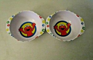 lot of 2 2003 Vintage Kids Elmo Cereal Bowl 8oz The First Years Sesame Street