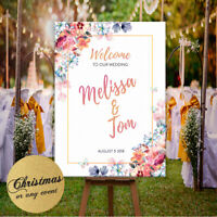 Personalised Welcome To Our Wedding  Sign Floral Gold Silver Poster Decor Party