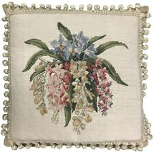 """18"""" x 18"""" Handmade Wool Needlepoint Petit Point Orchid Pillow with Tassels"""