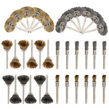 36Pcs Stainless Steel Brass Wire Wheel Polishing Pad Brush Set Kit Rotary Tool
