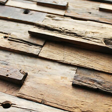 Pine Salvaged Old Boat Wooden Brown Holes Grain Tiles Home Wall Backsplash