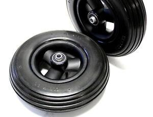 2x Rollstuhl Reifen 200x50 schwarz, 100% pannensicher Felge Kugellager NB 60 mm