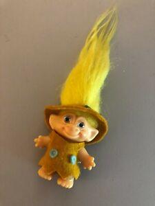 1960's REG UK DAM Troll Doll 2 1/2 Yellow hair lavender eyes Felt clothing