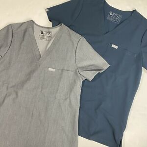 FIGS Technical Collection Catarina Scrub Top Womens Small (Lot of 2) Gray & Blue