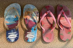 2 Pairs Kids Havaianas Size 29/30 Disney Frozen & Strawberry Print