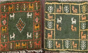 Set of 2 Green Geometric Tribal Gabbeh Area Rug Hand-knotted Oriental 1x1 Square