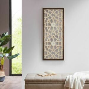 """Luxury Brown & Beige Damask Wood Panel Carved Wall Panel Art - 15x37"""""""