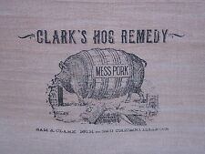 "Primitive Tea Stained ""Clark's Hog Remedy"" Table Runner, Tan Cotton Double Sided"