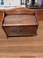 VINTAGE Wooden  HAND MADE   SEWING BOX Flip Top