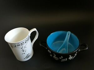 Home Decor  Music Soup Bowl with Spoon Blue + Musical Note Mug Gift Set