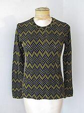 Vgc Vtg 70s Mod Black Gold Silver Sparkly ZigZag Stripe Textured Knit Top M