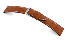 "RIOS1931 Genuine Ostrich Leather Watch Band 20 mm Cognac ""Maxime"""