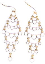 Free moving gold chain, white petals chandelier dangle drop earrings. Boho 1920s