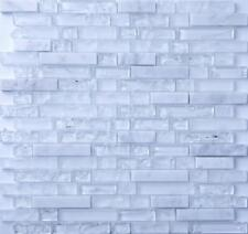 1 SQ M Clear & Frosted Glass & White Stone Brick Shape Mosaic Tiles Sheet 0153