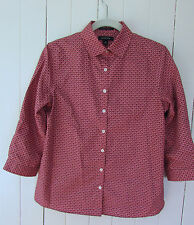 Land's End  Women's No Iron Supima Dress Shirt 3/4 Sleeve Size 4 Pink Brown EUC