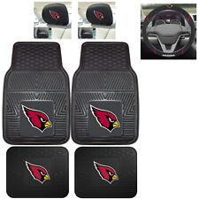 7pc NFL Arizona Cardinals Heavy Duty Rubber Floor Mats & Steering Wheel Cover