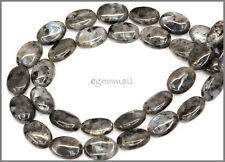 "15.75"" Natural Larvikite Flat Oval Beads 10x14mm #85255"