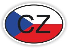 CZ CZECH REPUBLIC COUNTRY CODE OVAL WITH FLAG STICKER bumper decal car helmet