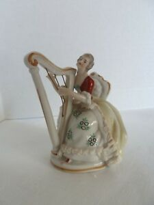 Antique Figurine Lady HARP PLAYER Marked Crown over HUS Very good Condition