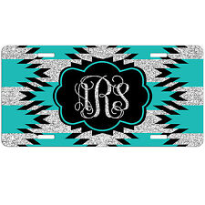 c98130ff9d70 Teal Aztec Glitter Personalized Monogrammed License Plate Car Tag Initials