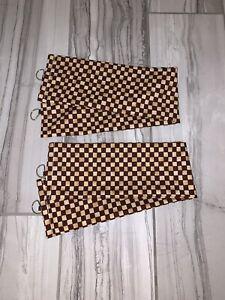 Check Checkered Gingham Drapery Fabric Tie Back Tiebacks ~ 1 Set Of 2