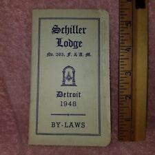 1946 SCHILLER LODGE MASONIC By Laws & OFFICERS List Detroit MI F&AM -FreeSHIP