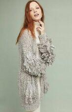 Anthropologie Shaggy Cardigan Sweater Loop Fringe Hand Knit Gray Black M/L NEW