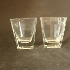 Pair Modern Clear Glass Square Vase Tapered Sides 9cm Tall