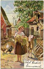 1902 Milano - Ritratto di donna in fattoria fieno animali - FP COL VG