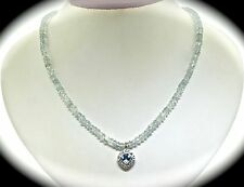 """14k White Gold, Blue Topaz, And Daimond Necklace 16"""""""