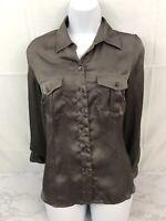 Coldwater Creek Long Sleeve Button Down Shirt Womens PS (6-8) Gray Petite Top L