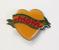 """Vtg 1940s 1950s Mother's Day """"MOM"""" on Red Yellow Green Banner Heart Brooch Pin"""