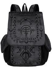 Sac à dos noir imitation cuir avec broderies runes, nugoth gothique, Restyle