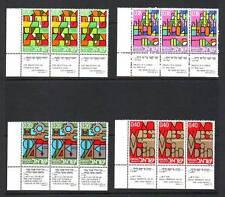 ISRAELE-SG512-515 Gomma integra, non linguellato 1971 sviluppo educativo-Strisce di 3 con schede