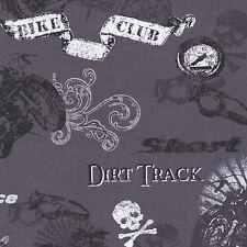 Half Metre Quilting Fabric ~ Retro Rider ~ Biker Collage ~ Grey