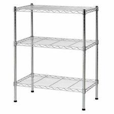 3 Tier Wire Shelving Rack Shelf Adjustable Unit Garage Storage Organizer Home