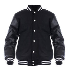 Varsity Genuine Leather Sleeve Letterman College  Men Wool Jacket