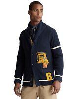 Polo Ralph Lauren Varsity-Inspired Cardigan Mens Large Hunter Navy