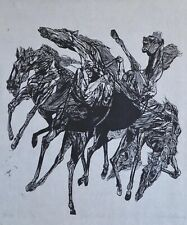 A fine Jacob Landau wood block print, Horses, pencil signed, 1969