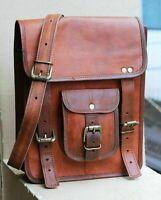 Large Brown Vintage Leather Mens Messenger Shoulder Laptop Bag Briefcase Satchel