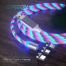 2M Light Glow Flowing Fast Phone Charging Android Micro Usb Type C Charger Cable