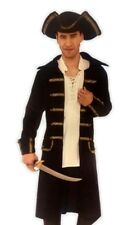 Gentleman Pirate Costume Captain Black Coat N' Tricorn Hat Men Plus Size Std-XXL