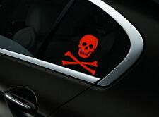 Skull Crossbones Car Sticker Window Styling Decal, Red